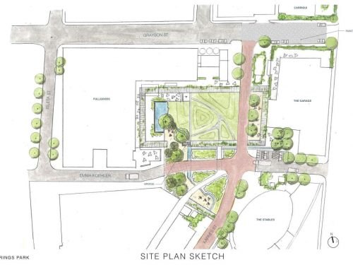 New green space where parking lot was